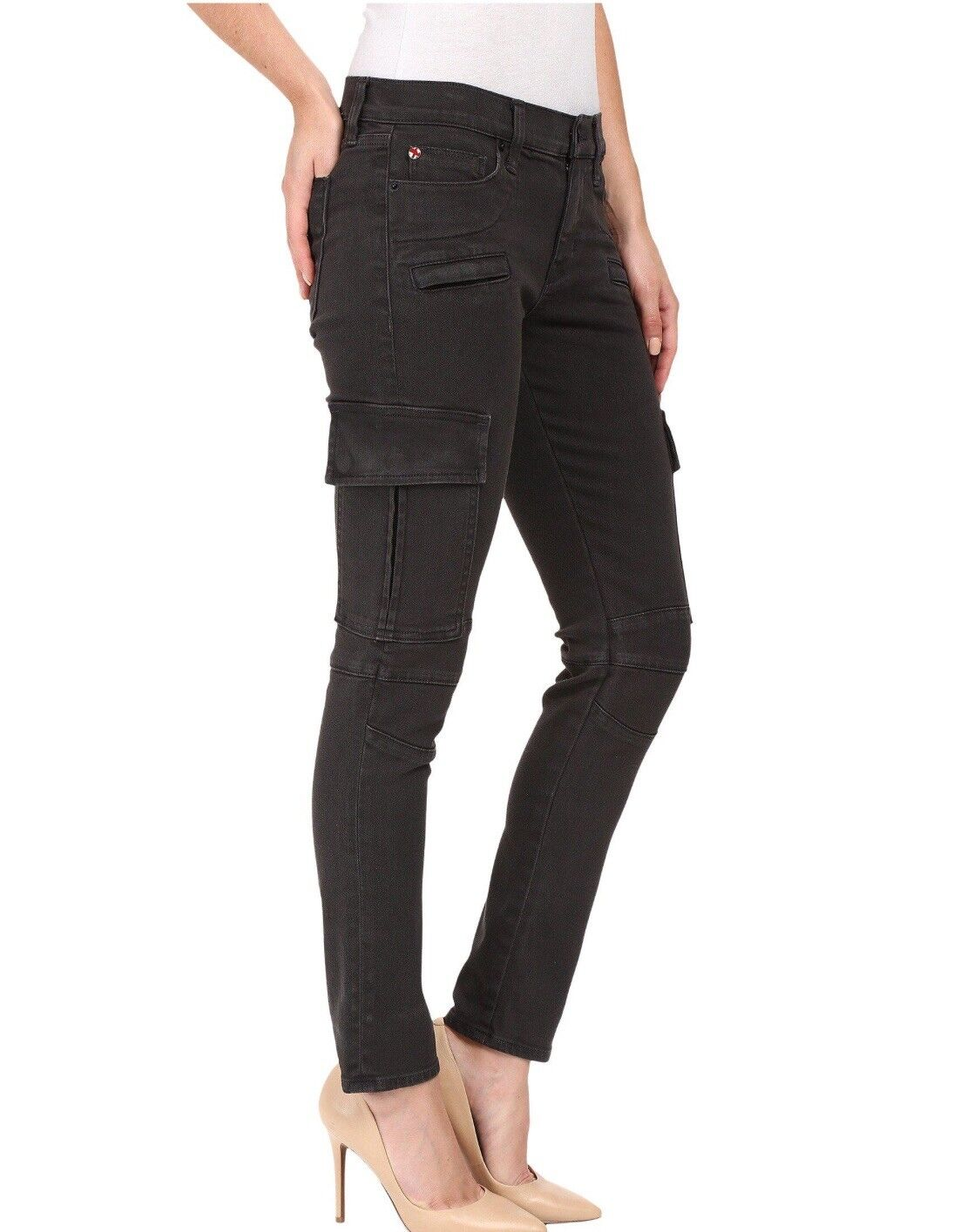 "NWT Hudson Colby Ankle Moto Skinny Cargo Jeans Womens 24 Inseam 26"" Dark Grey"