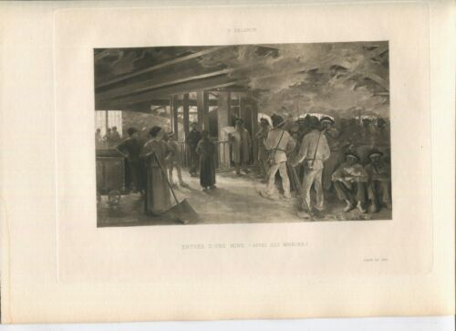 ANTIQUE MINE MINING WORKERS MINERS MEN SHOVELS WOMAN SMOKE WOOD TIMBERS PRINT