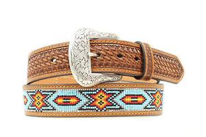 Nocona-Tan-Leather-Mens-Beaded-Inlay-Multi-Belt