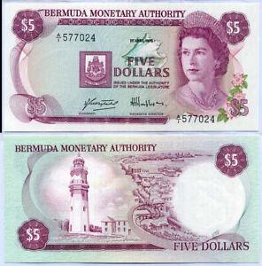 BERMUDA 5 DOLLARS 1978 P 29 UNC W/ PIN HOLE