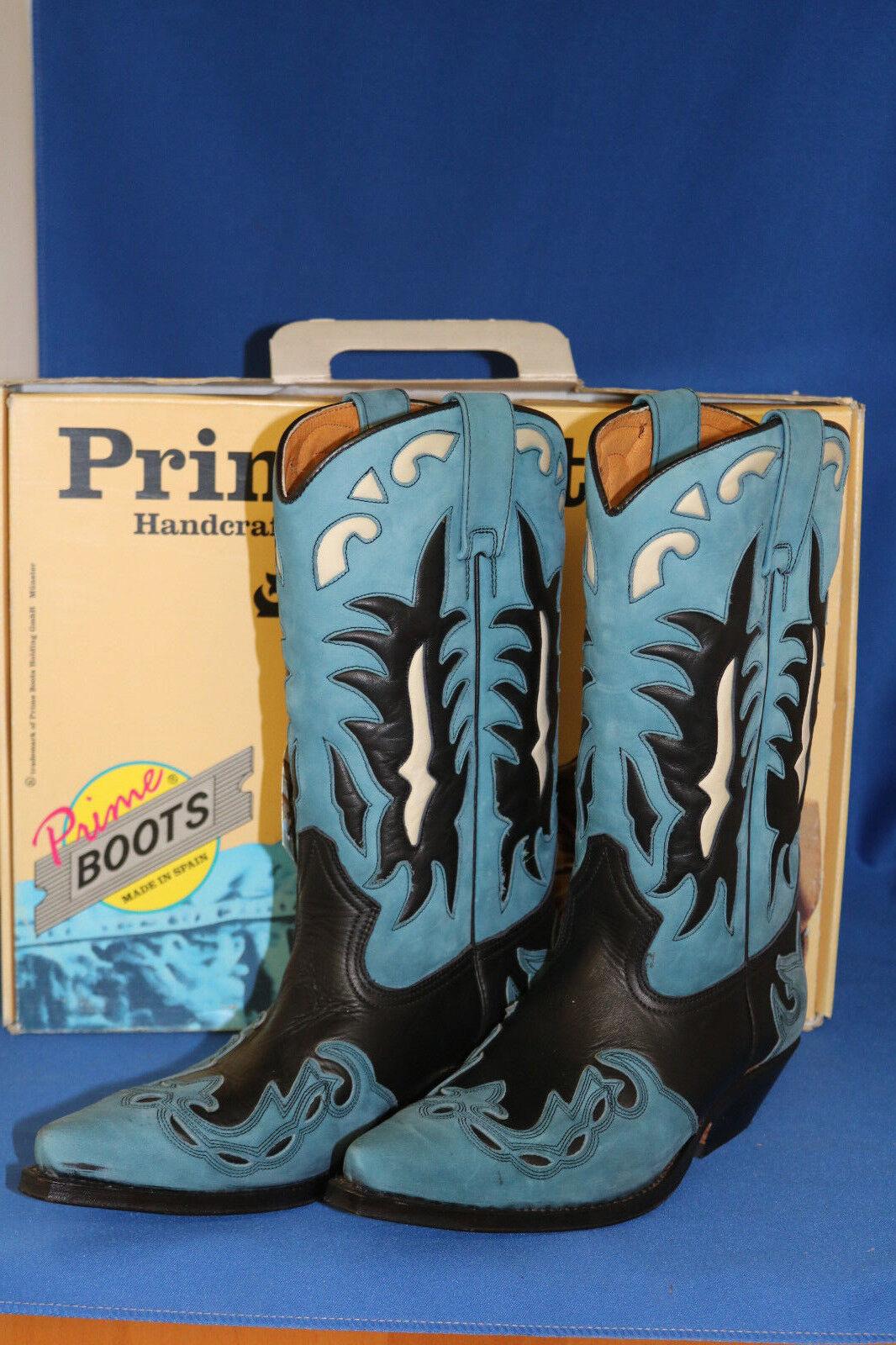 Prime Stiefel design cowboystiefel westernstiefel handmade neu handmade westernstiefel gr. 45 blau schwarz 1bb664