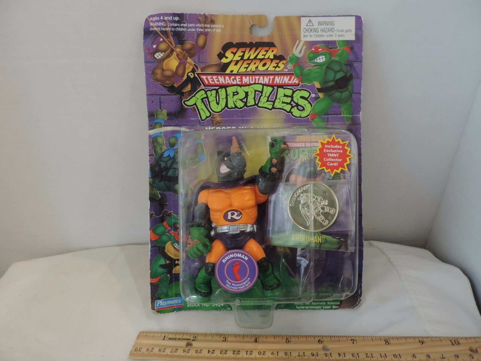 TMNT Sewer Heroes Rhinoman 1994 Exclusive Golden Coin Edition