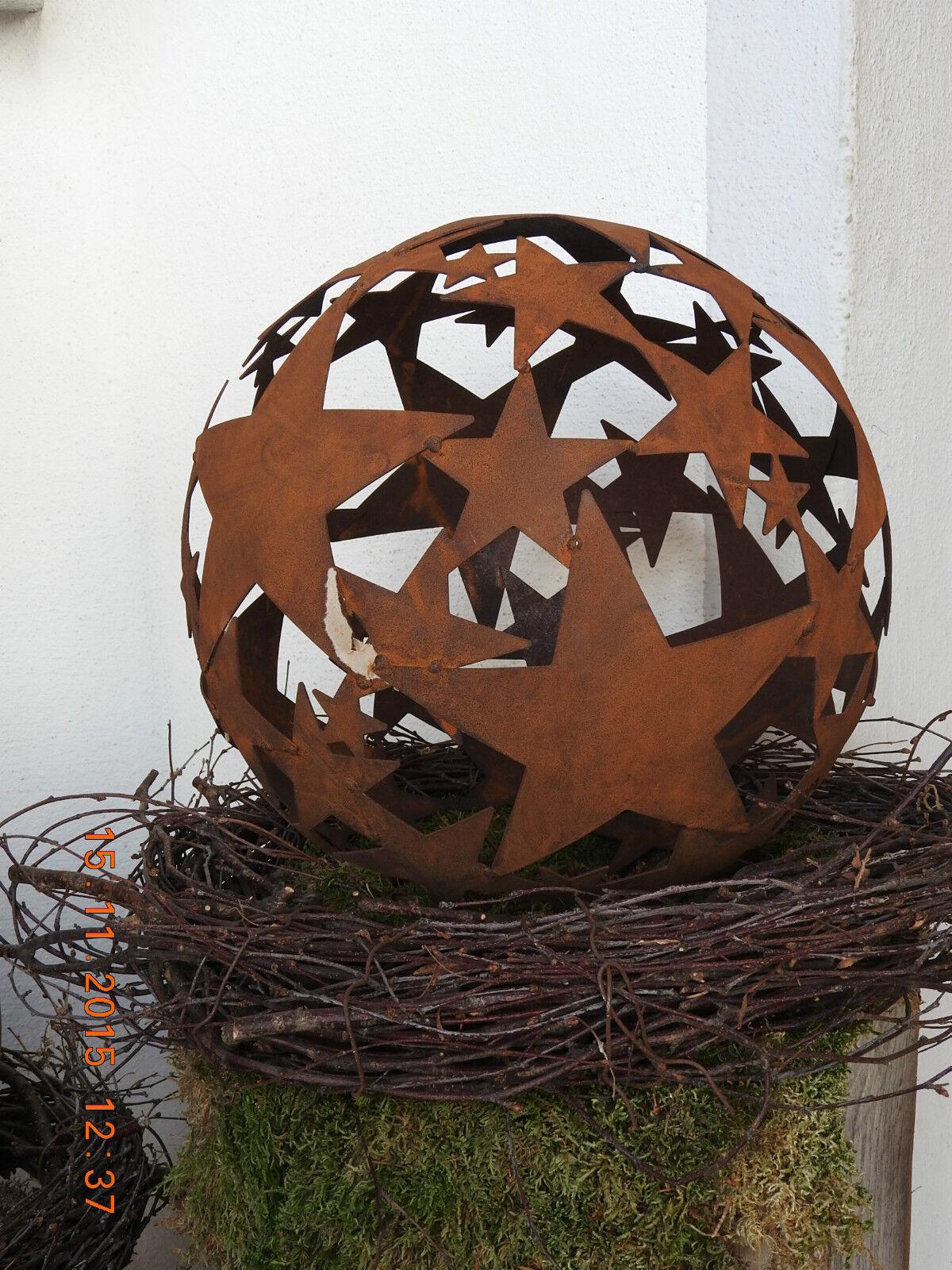 Edelrost Kugel Stern 40 Dekoration Weihnachten Advent Garten Terrasse Säule Deko