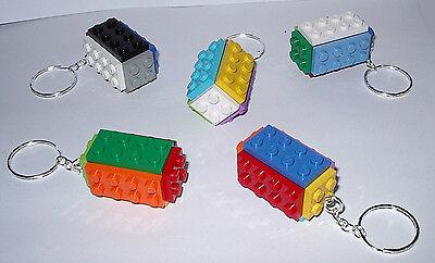 LEGO Pack of 5 Brick Keychains 2x4 Stud NEW a Keyring Bagcharm Party Bag