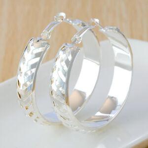 Fashion-Women-Jewelry-925-Silver-Plated-Round-Hoop-Dangle-Earring-Ear-Stud-NEW