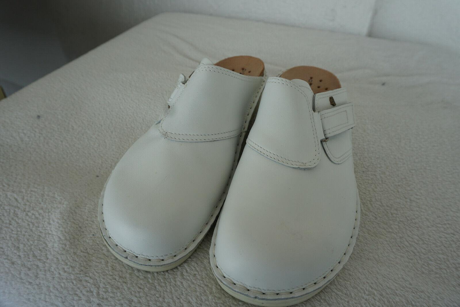 FINN COMFORT d'été chaussures sabots dépôts Sandales Taille 42 en cuir blanc pratique neuf