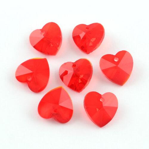 6 pieza colgante de corazón de cristal facetado encantos cadena rojo 1792