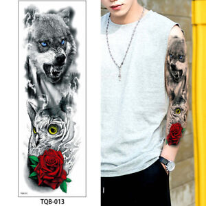 Wolf Owl Roses Flowers Red Black Temporary Tattoo Sleeve Arm Large