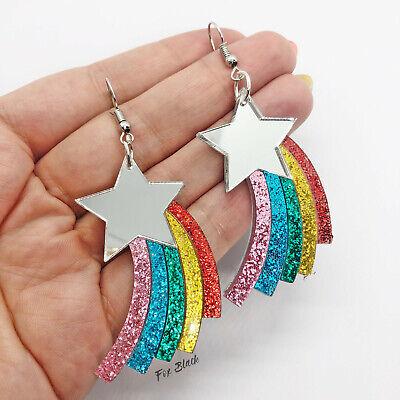 Glitter Star Jewellery Rainbow Star Necklace Acrylic Jewellery Rainbow Necklace