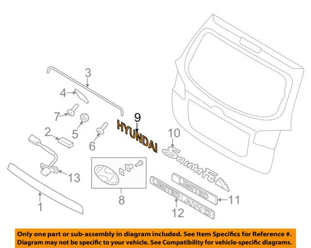 hyundai santa fe veracruz rear liftgate emblem oem 863102b500 ebay rh ebay com 2005 Ford Tailgate Parts Diagram Chevy Silverado Tailgate Parts Diagram