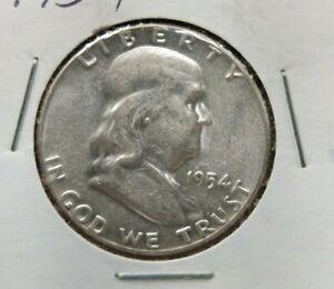 1954 P Franklin Silver Half Dollar Coin Choice AU ABOUT UNC CIRC