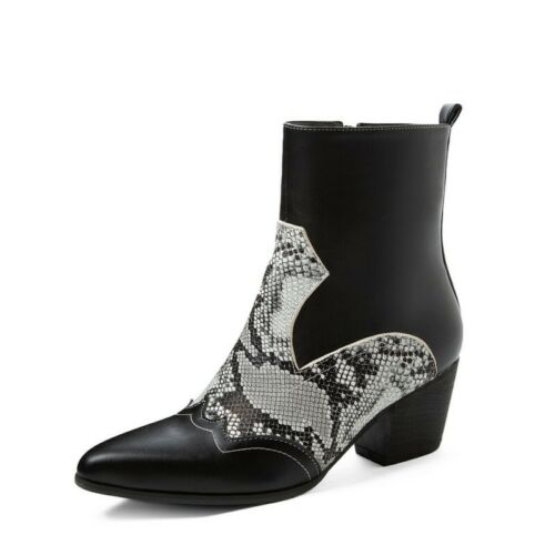Details about  /44//48 Women Chelsea Patchwork Pattern Pointy Toe Casual Block Heel Ankle Boots D