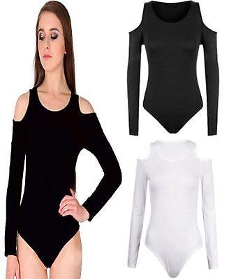 Cut Out Cold ShoulderWomens Ribbed Long Sleeve Bodysuit Top Ladies Leotard 8-14