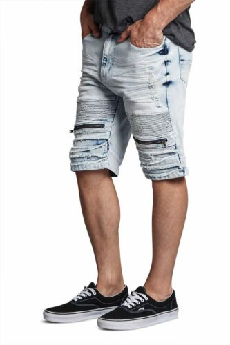 Men/'s Biker Style Ripped Distressed  Stain wash Denim Jean Shorts  DS2017 FF1F