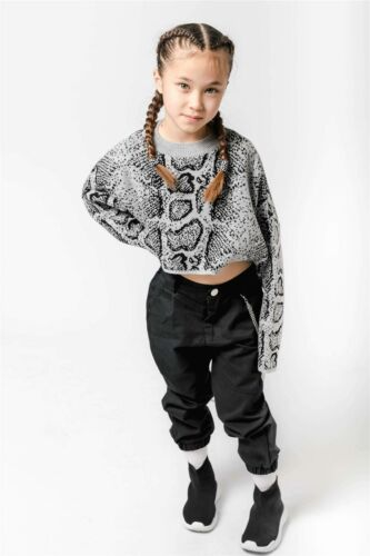 Girls Crop Top New Kids Short Sleeve Stretch Snake Print T-shirt Age 1-16 Years