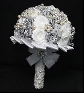 New Handmade Bridal Bride Flower Wedding Bouquet Crystal Posy White Grey Rose #6