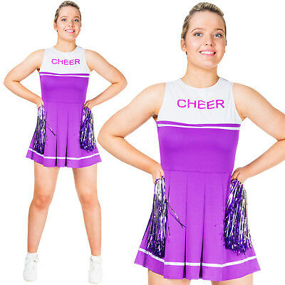 Womens Cheerleader High School Sports Uniform Fancy Dress Costume with Pom Poms