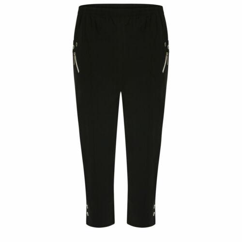 Ladies 3//4 Trousers Womens Three Quarter Soft Trendy Button Detail Capri Pants