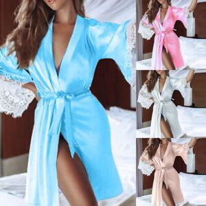 Women-Lingerie-Lace-Dress-Long-Bath-Robe-Babydoll-Bandage-Nightwear-Sleepwear-03