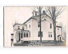 ST1854: NEW BERLIN NY HIGH SCHOOL (Sharp RPPC/postcard 1907 PM)