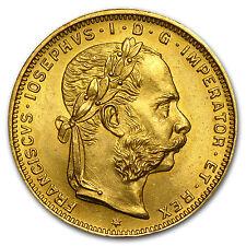 Austria 8 Florins/20 Francs Gold Coin - Random Year - AU/BU - SKU #22427