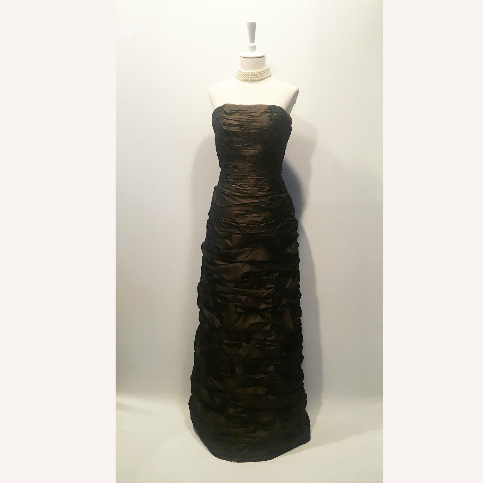 Chetta B   Two Piece Strapless Ruched Dress in Brown Silk - Size 06