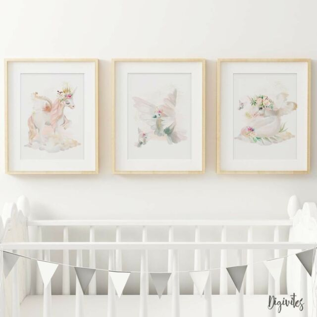 Baby, Girl Nursery Bedroom Wall Art decor Set of three Unicorn Prints, Floral