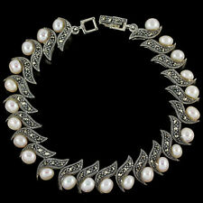 Sterling Silver 925 Genuine Natural Pearl & Swiss Marcasite Bracelet 7 Inches