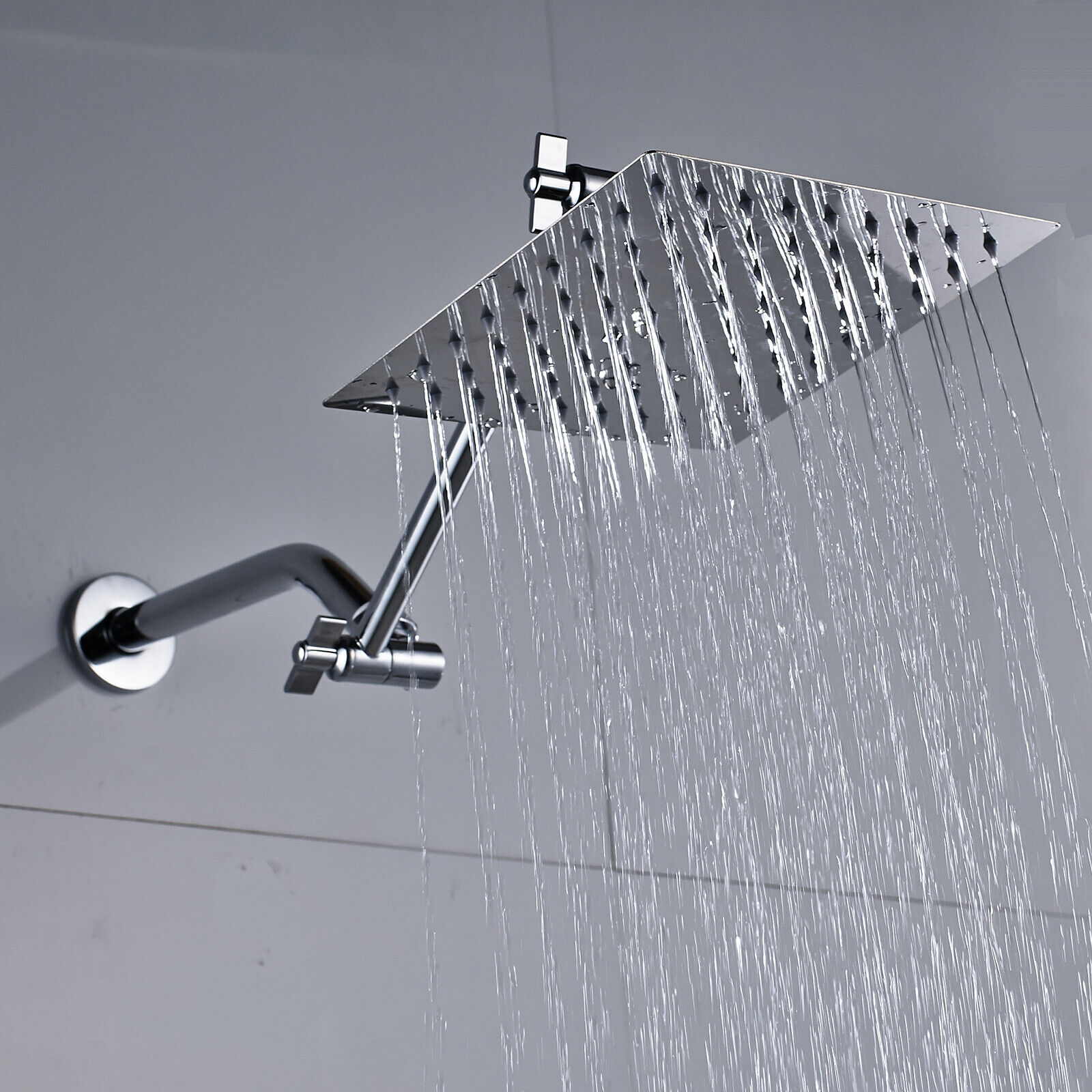 8 Inch Stainless Steel Square Rainfall Shower Head With Extension Arm Chrome