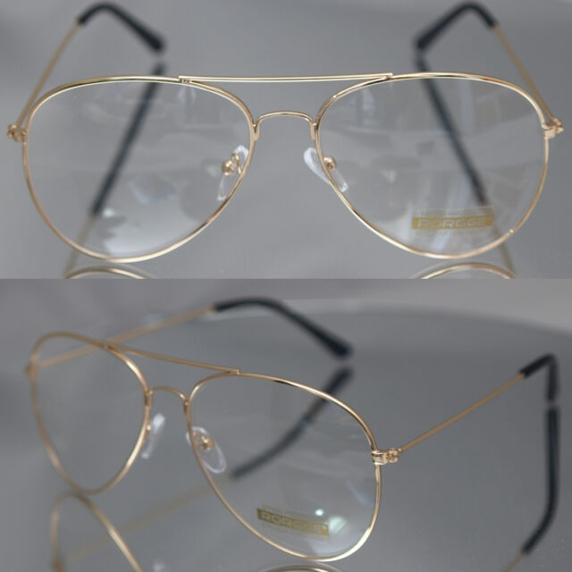 85c12373e0df Aviator Driving Designer Mens Womens Glasses Retro Metal Gold Frame Clear  Lens