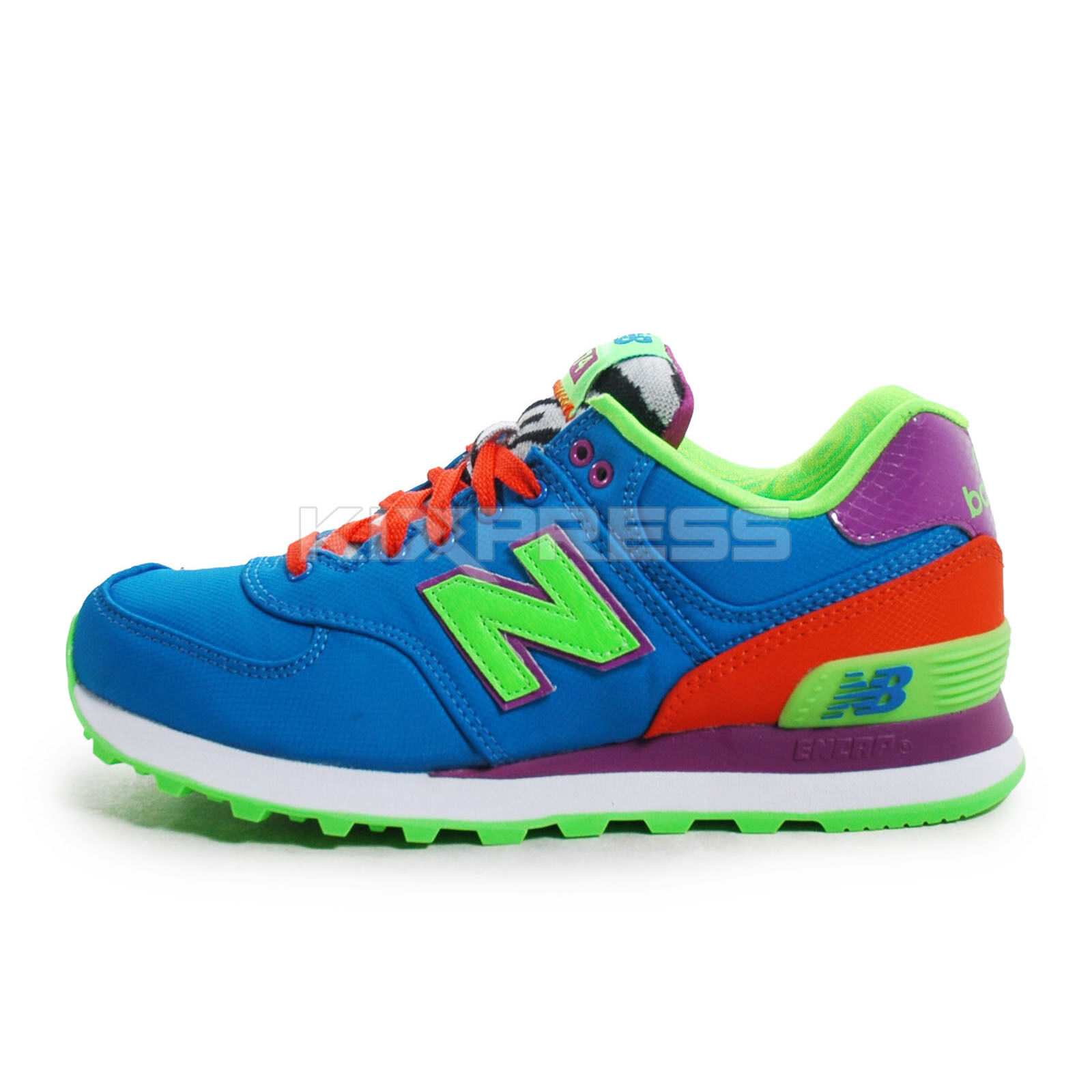 New Balance WL574  Classic Running Game bluee Electric Green