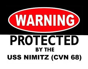 METAL-MAGNET-Warning-By-Protected-USS-Nimitz-CVN-68-Military-Navy-Ship-MAGNET