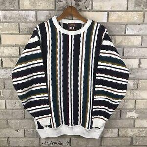 Vintage-Pullover-von-Atlas-Made-in-USA-XL-COOGI-Stil-weiss-und-braun-Biggie-selten