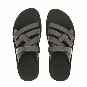clearance sale cozy fresh online shop Danward Men's Smoke/Black Leather Multi-Strap Sandals CM15FRS1 ...