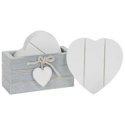 Six Wooden Heart Drink Coasters / Placemats with Provence Grey Storage Box *Gift