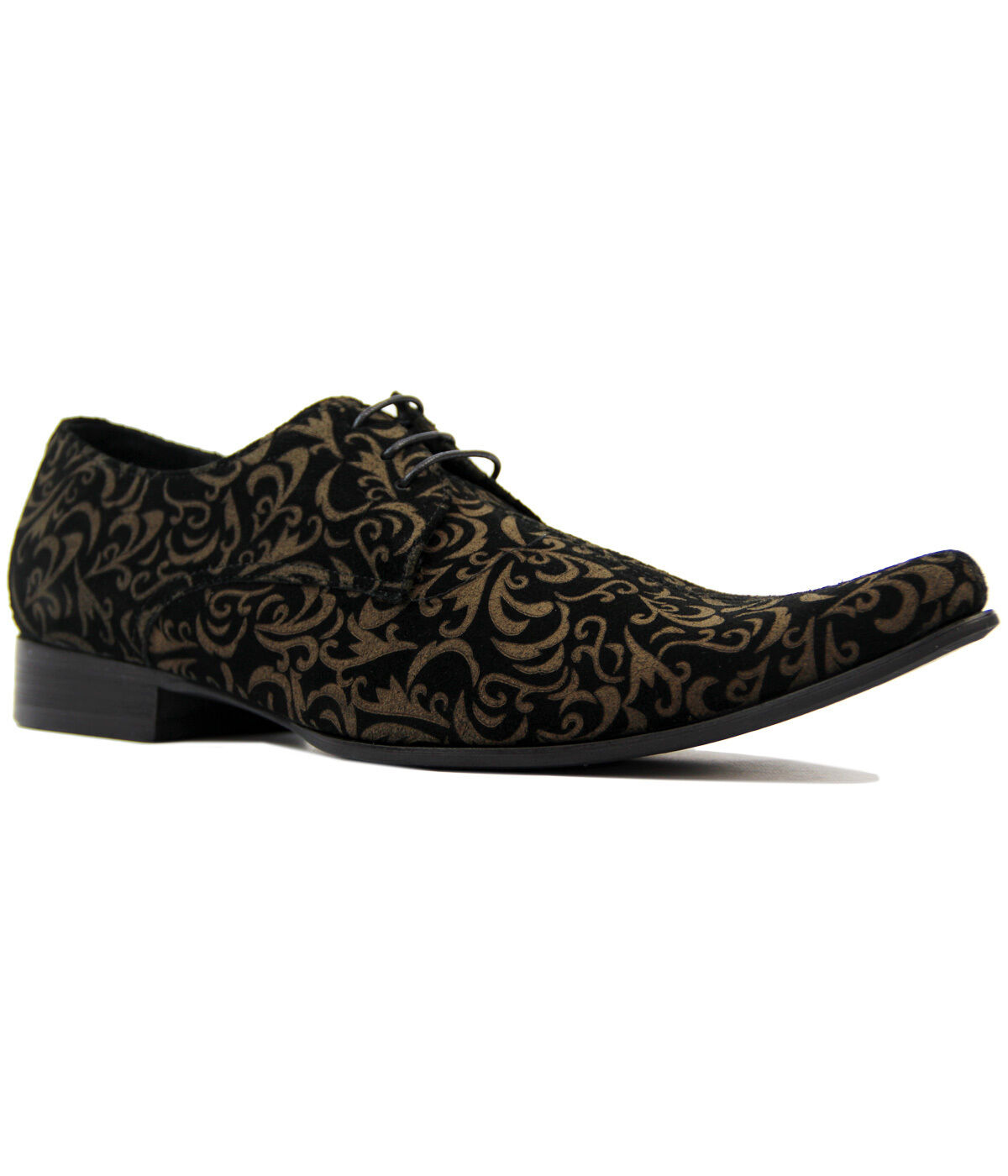 NEW MADCAP MOD RETRO MOD SIXTIES PAISLEY SUEDE SHOES Winklepickers 60s JAG Black