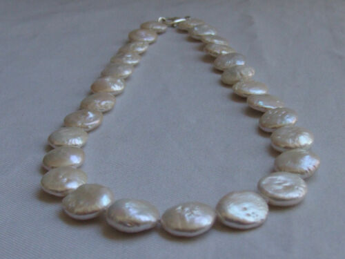 Cultured Freshwater Pearl Starter Collier Keshi Coin Collier Argent Bouton Cadeau