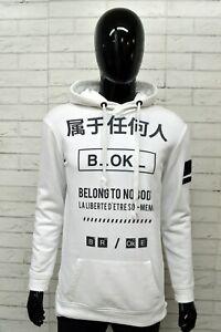 Felpa-Bianca-Uomo-BERSHKA-Taglia-Size-L-Maglione-Sweater-Man-White-Cappuccio