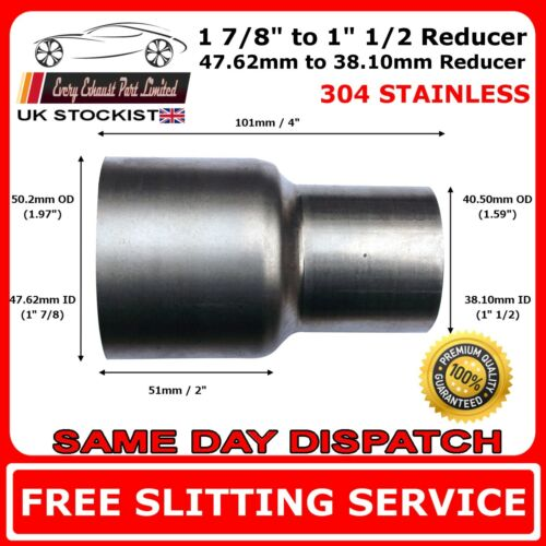 """1.875/"""" to 1.5/"""" Stainless Steel Flared Exhaust Reducer Connector Pipe Tube"""