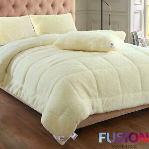 Teddy-Bear-Sherpa-Duvet-Fleece-13-5-Tog-Quilt-Thermal-Warm-Soft-Bedding-amp-Pillow