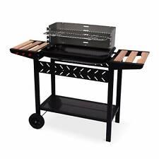 Barbecue charbon Alfred noir et gris, cuve émaillée, tablettes latérales bois,