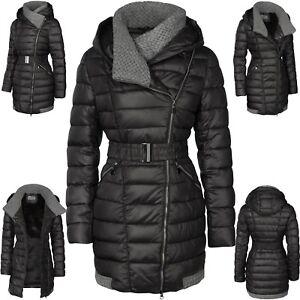 Damen Winter Stepp Mantel Lang Jacke Daunen Optik Parka Kapute Große