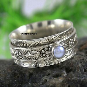 Pearl-Ring-925-Sterling-Silver-Spinner-Ring-Meditation-Statement-Jewelry-B14