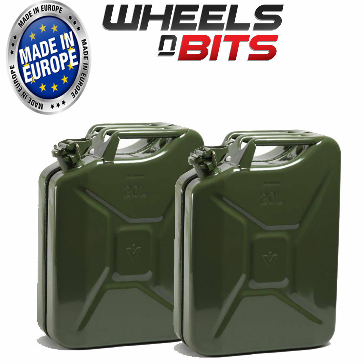 2 x 20L Litre Green Jerry Military Can Fuel Oil Water Petrol Diesel Red Green