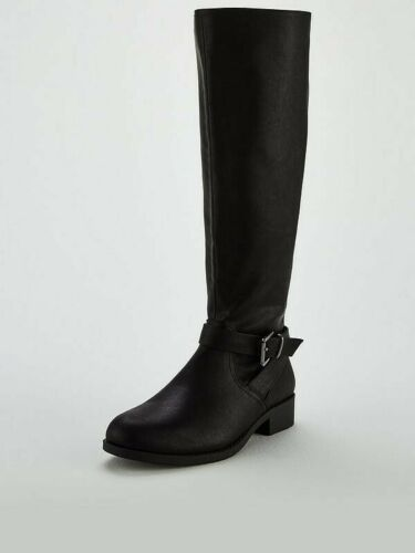 LADIES KNEE HIGH FLAT MID BOOTS SHOES SIZES  3 4 5