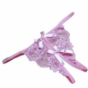 Baby-Pink-Lace-Crotchless-Open-Crotch-Thong-One-Size-Sexy-Crutchless-Knickers