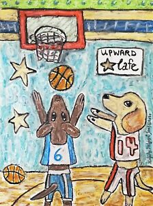 Labrador-Retriever-Collectible-ACEO-PRINT-Dog-Art-Card-2-5X3-5-KSAMS-Basketball