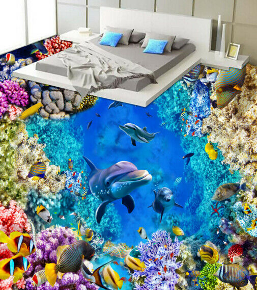 3D Coral Cave Dolphin 3 Floor Wall Paper Wall Print Decal Wall Deco AJ WALLPAPER