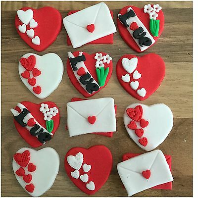 12 Valentines Day Edible Hearts  LettersFlowers Cupcake Cake Toppers Decorations