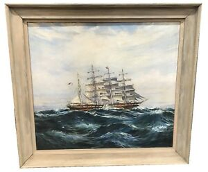 ANTIQUE-SAILSHIP-PAINTING-OIL-ON-CANVAS-SIGNED-NELSON